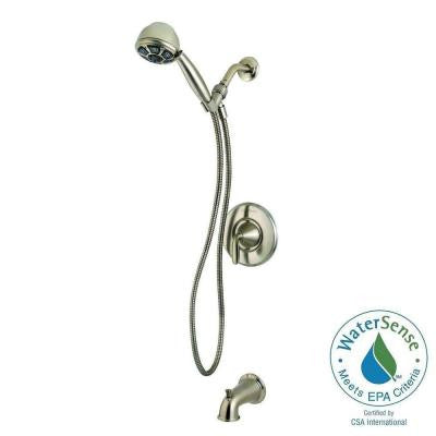 Pasadena Single-Handle 3-Spray Tub and Shower Faucet with Handshower in Brushed Nickel