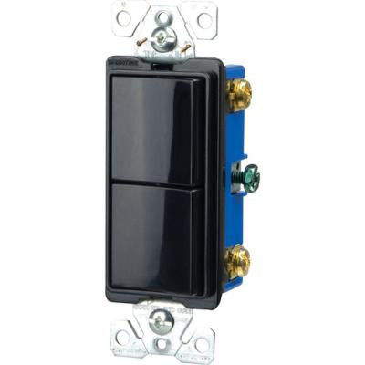 Commercial Grade 15 Amp Combination Decorator 2 Single Pole Switches with Back and Side Wiring - Black