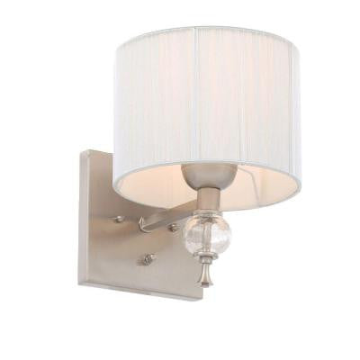 Bayonne Collection 1-Light Brushed Nickel Sconce with Silver Shade