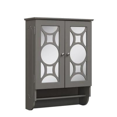 23.625 in. W x 9.25 in. D x 32 in. H Wall Cabinet with 2-Mirrored Doors in Modern Gray