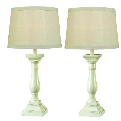 28 in. Antique White Table Lamp (2-Pack ) Set with Renew