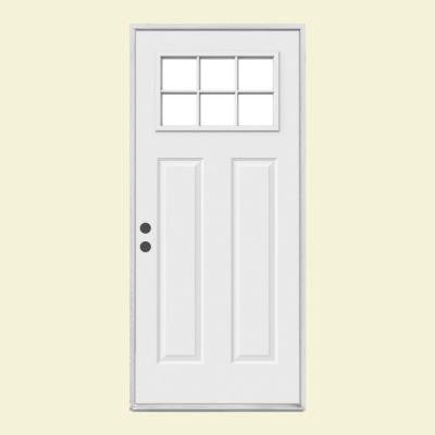 32 in. x 80 in. Craftsman 6-Lite Primed Premium Steel Prehung Front Door