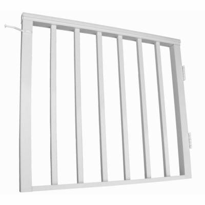 36 in. x 54 in. White Pre-Built Aluminum Single Panel Walk-through Gate 1 in. Square Balusters