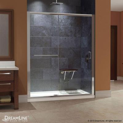 Infinity-Z 60 in. x 74-3/4 in. Frameless Sliding Shower Door in Brushed Nickel with Right Hand Drain Base