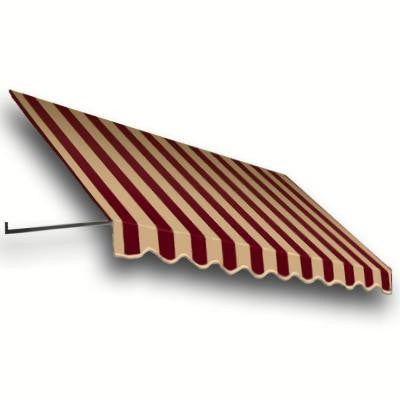14 ft. Dallas Retro Window/Entry Awning (16 in. H x 24 in. D) in Burgundy/Tan Stripe