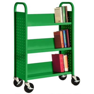 32 in. W x 14 in. D x 46 in. H Single Sided 3-Sloped Shelf Booktruck in Primary Green