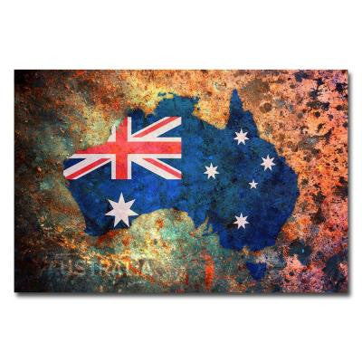 22 in. x 32 in. Australia Flag Map Canvas Art