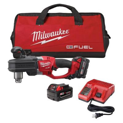 M18 FUEL 18-Volt Brushless Lithium-Ion Hole Hawg 1/2 in. Right Angle Drill Kit