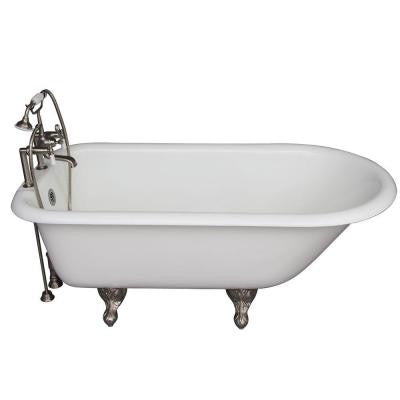 5.6 ft. Cast Iron Ball and Claw Feet Roll Top Tub in White with Brushed Nickel Accessories