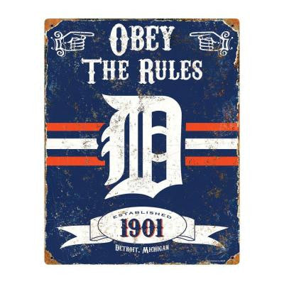 14.5 in. H x 11.5 in. D Heavy Duty Steel Detroit Tigers Embossed Metal Sign Wall Art