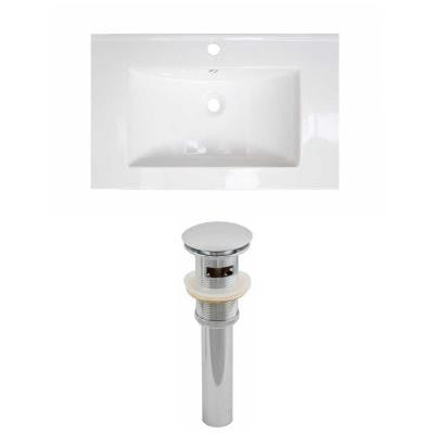 25 in. W x 22 in. D Ceramic Vanity Top Set with Basin in White and Drain