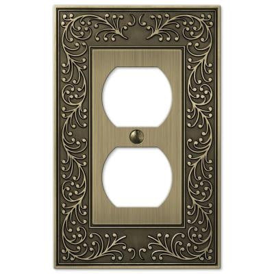 English Garden 1 Duplex Outlet Plate - Brass