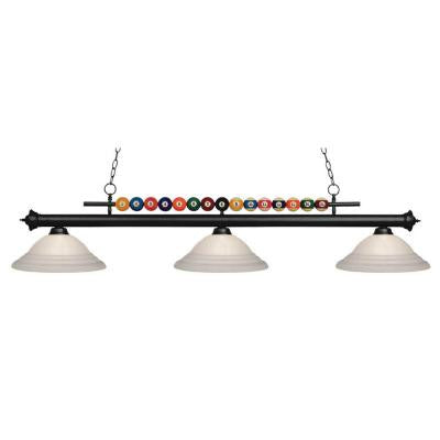 Kerstin 3-Light Matte Black Billiard Light