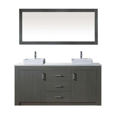Tavian 60 in. W x 22 in. D x 33.8 in. H Vanity in Zebra Grey with Stone Vanity Top in White with Square Basin and Mirror