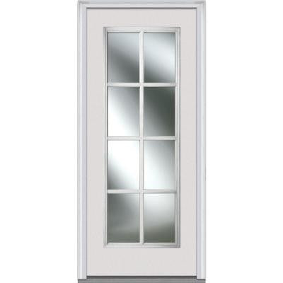 36 in. x 80 in. Simulated Divided Light Clear Glass Full Lite Primed White Fiberglass Smooth Prehung Front Door