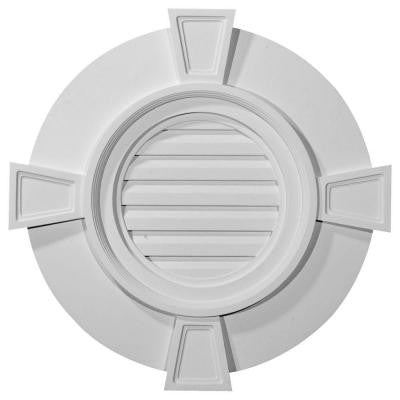 2-1/4 in. x 24 in. x 24 in. Functional Round Gable Vent with Keystones