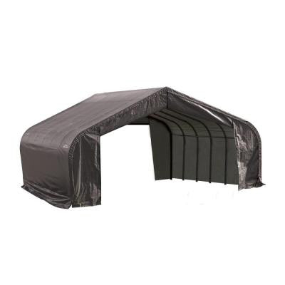 22 ft. x 24 ft. x 11 ft. Grey Cover Peak Style Shelter