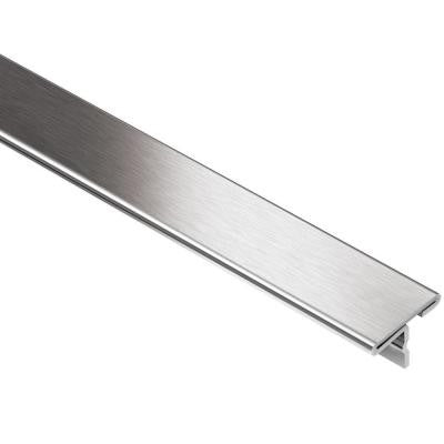 Reno-T Brushed Stainless Steel 17/32 in. x 8 ft. 2-1/2 in. Metal T-Shaped Tile Edging Trim