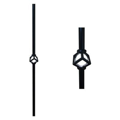 32 in. Black Single Cubic Lighted Baluster (2-Pack)