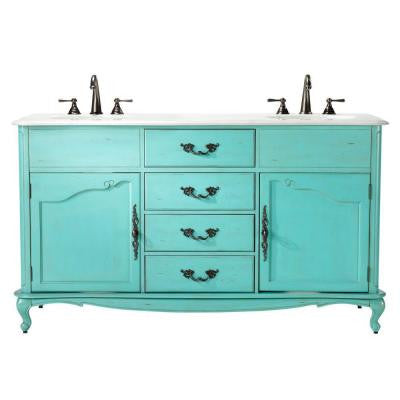 Provence 62 in. W x 22 in. D Double Sink Vanity in Blue with Marble Vanity Top in White