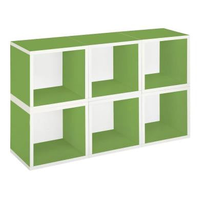 zBoard Eco 40.2 in. x 25.6 in. Green Stackable Modular 6-Cube Storage