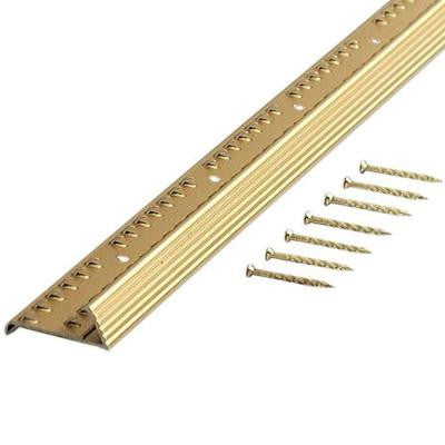 Satin Brass Fluted 36 in. Carpet Gripper with Teeth