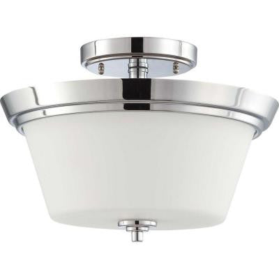 2-Light Polished Chrome Semi-Flush Mount Fixture with Satin White Glass Shade