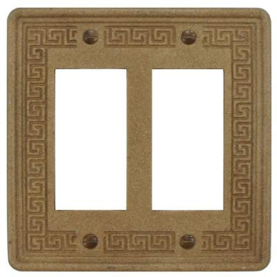 Contempo Greek Key Double-Gang Decora Wall Plate - Noce Travertine