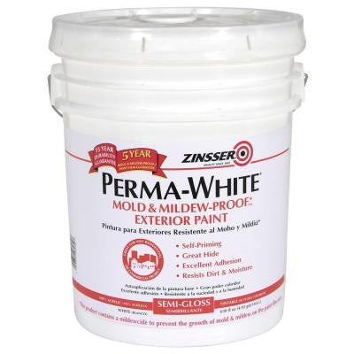 5-gal. Perma-White Mold and Mildew-Proof White Satin Exterior Paint