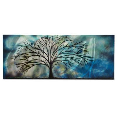 Brevium 19 in. x 48 in. Moonlight Serenade Metal Wall Art