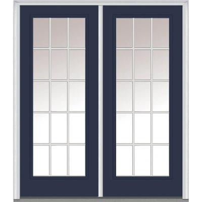60 in. x 80 in. Classic Clear Glass GBG Full Lite Painted Fiberglass Smooth Double Prehung Front Door