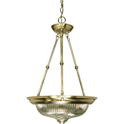 3-Light Antique Brass Pendant with Clear Swirl Glass