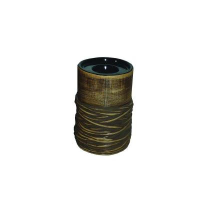 6 in. H Ceramic Tea Light Holder in Brown