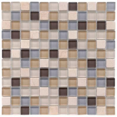 Tessera Square River 11-3/4 in. x 11-3/4 in. x 8 mm Glass and Stone Mosaic Wall Tile (9.6 sq. ft. / case)