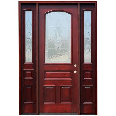 64 in. x 96 in. 3/4 Arch Lite Stained Mahogany Wood Prehung Front Door w/ 6 in. Wall Series & 12 in. Sidelites