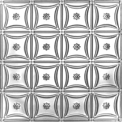 2 ft. x 2 ft. Lay-in Suspended Grid Tin Ceiling Tile in Brite Chrome (24 sq. ft. / case)