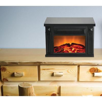 Zurich 13 in. Retro Tabletop Electric Fireplace in Black