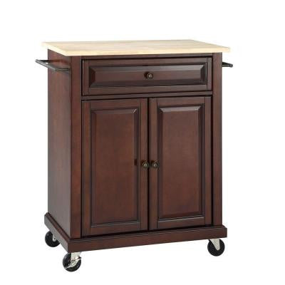 28-1/4 in. W Natural Wood Top Mobile Kitchen Island Cart in Mahogany