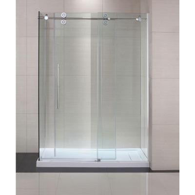 Lindsay 60 in. x 79 in. Semi-Framed Shower Enclosure with Sliding Glass Shower Door in Chrome and Clear Glass
