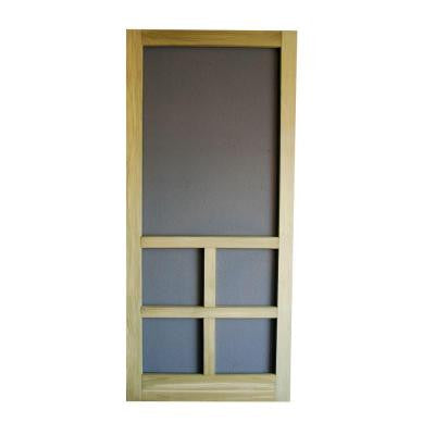 32 in. x 80 in. Summit Wood Unfinished Reversible Hinged Screen Door