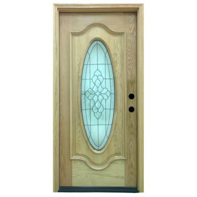 36 in. x 80 in. Tyler Full Oval Stained Oak Wood Prehung Front Door