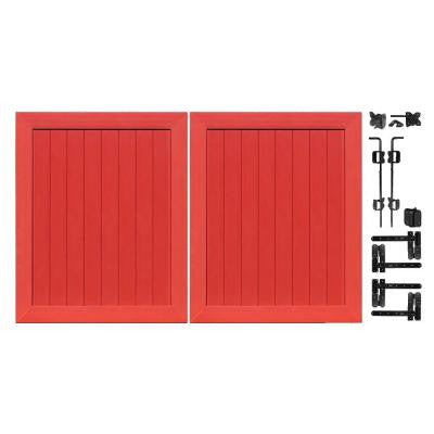 Pro Series 5 ft. x 6 ft. Barn Red Vinyl Anaheim Privacy Double Drive Through Fence Gate