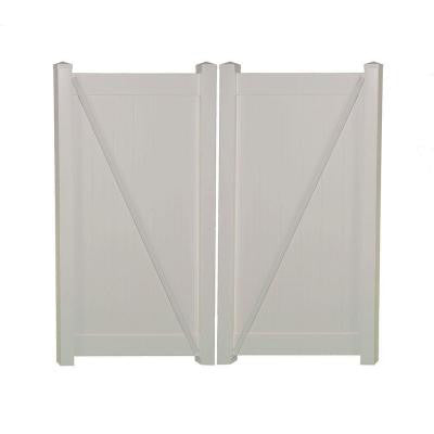 Shelton 7.4 ft. x 6 ft. White Vinyl Privacy Double Fence Gate