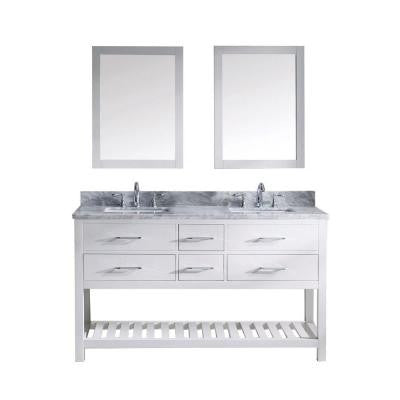 Caroline Estate 60 in. Double Square Basin Vanity in White with Marble Vanity Top in Italian Carrara White and Mirror