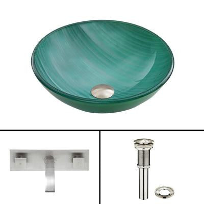 Glass Vessel Sink in Whispering Wind with Titus Wall-Mount Faucet Set in Brushed Nickel
