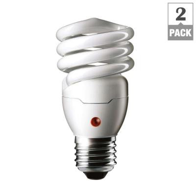 60W Equivalent Soft White Spiral Dusk Till Dawn CFL Light Bulb (2-Pack)
