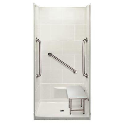 Plus 24 38 in. x 38 in. x 79 in. 4-piece Shower Kit in White with Center Drain