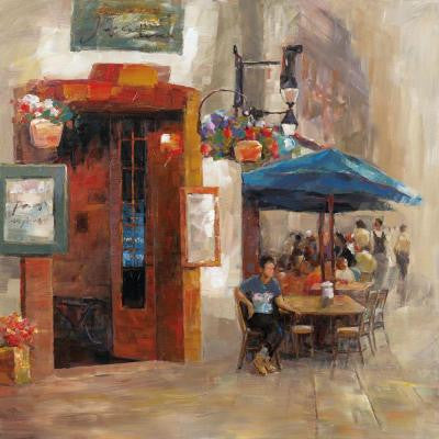 "32 in. x 32 in. ""Outdoor Dining II"" Hand Painted Contemporary Artwork"