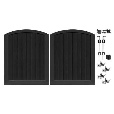 Pro Series 5 ft. x 6 ft. Black Vinyl Anaheim Privacy Double Drive Through Arched Fence Gate