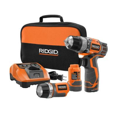 Reconditioned 12-Volt 3/8 in. Cordless 2-Speed Drill and Flashlight Combo Kit